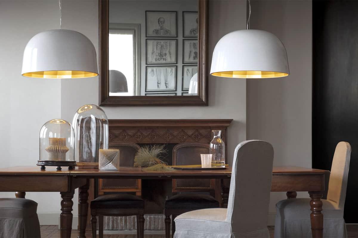 Hanglamp met gouden binnenkant